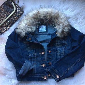 🐆 JUSTICE Jean Jacket (removable fur collar!)
